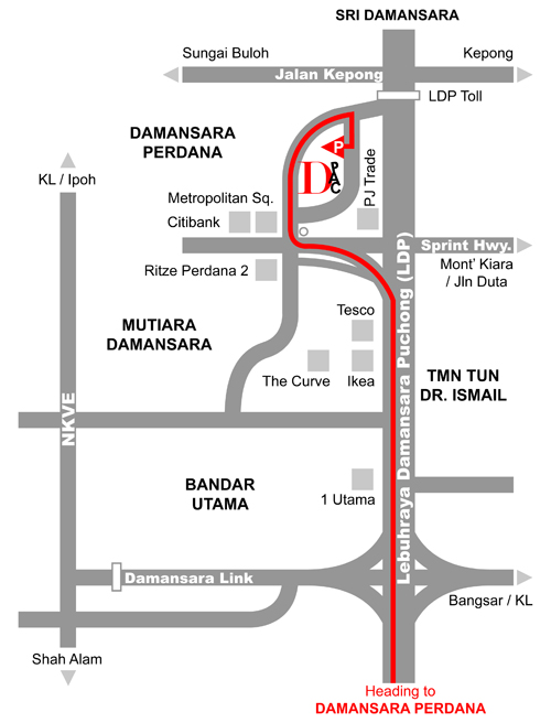 Map Of Asia Jaya Lrt Station.Getting Here Location Damansara Performing Arts Centre Dpac